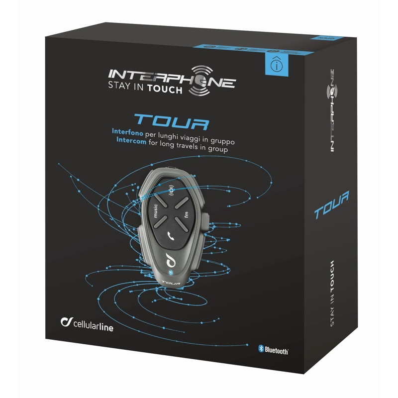 Bluetooth handsfree CellularLine Interphone TOUR Single Pack